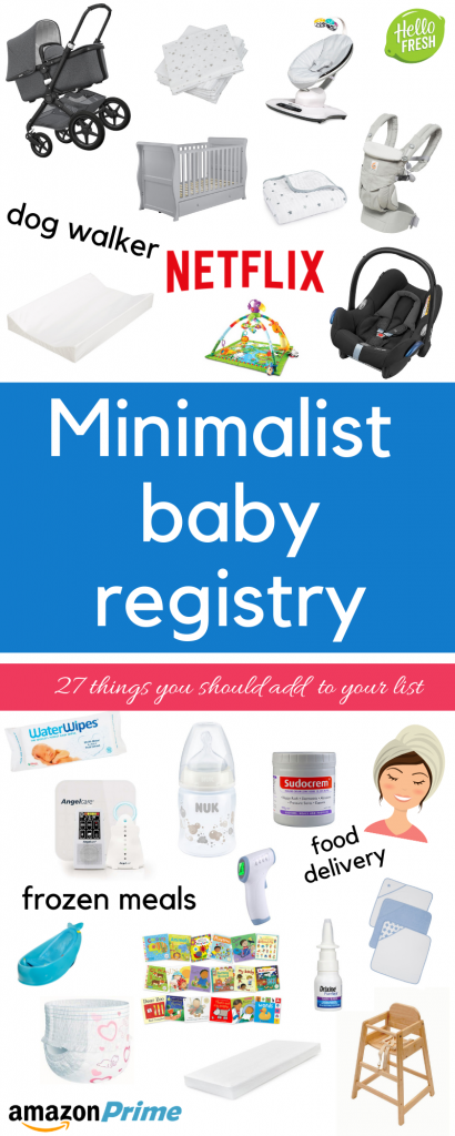 Minimalist baby registry infographic