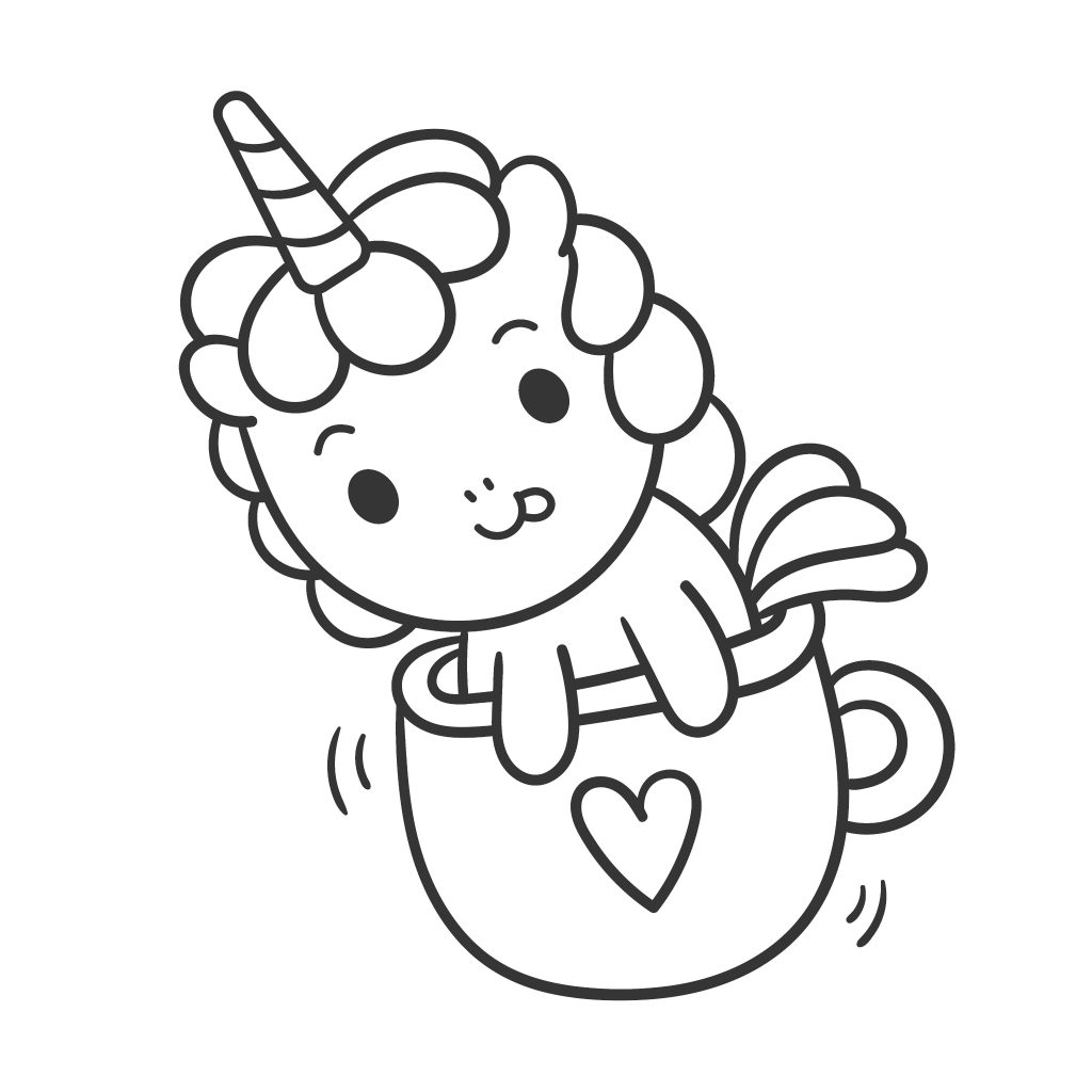cute unicorn in a tea cup picture to color