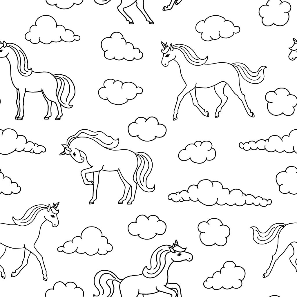 multiple unicorn and clouds coloring page