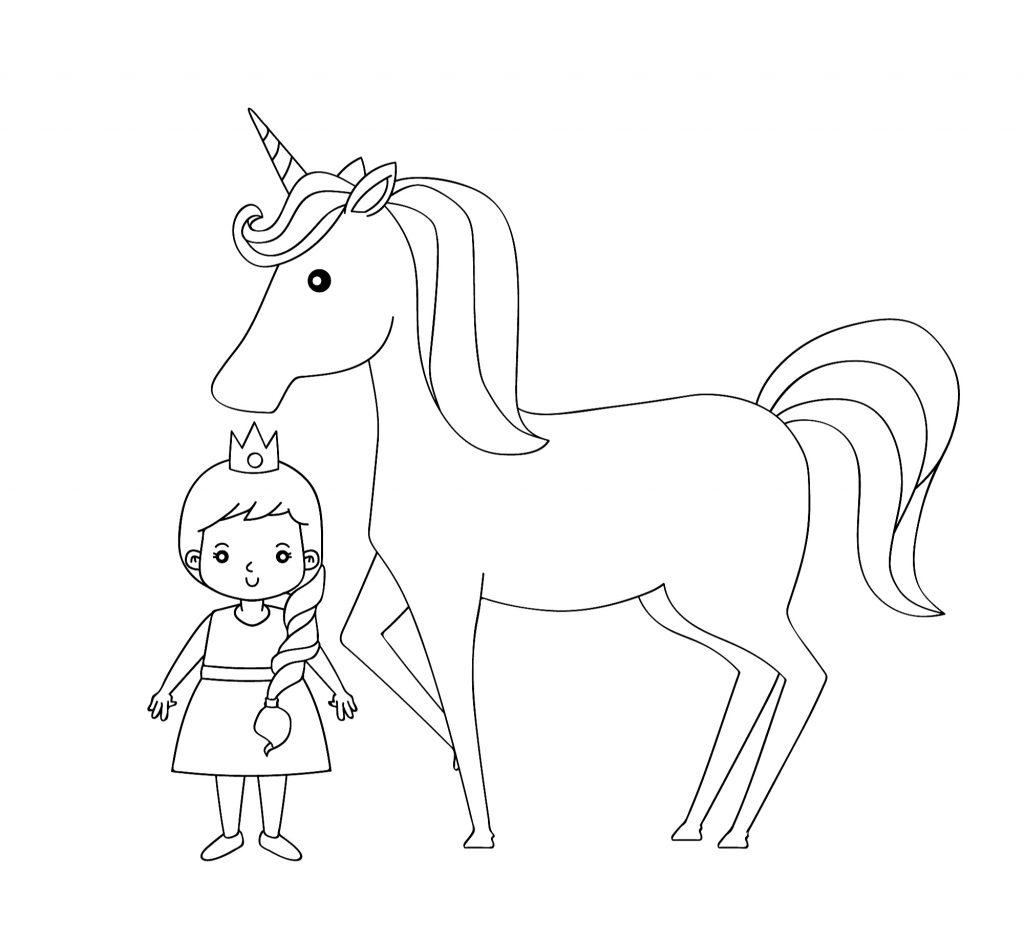princess and unicorn standing cute pretty coloring page