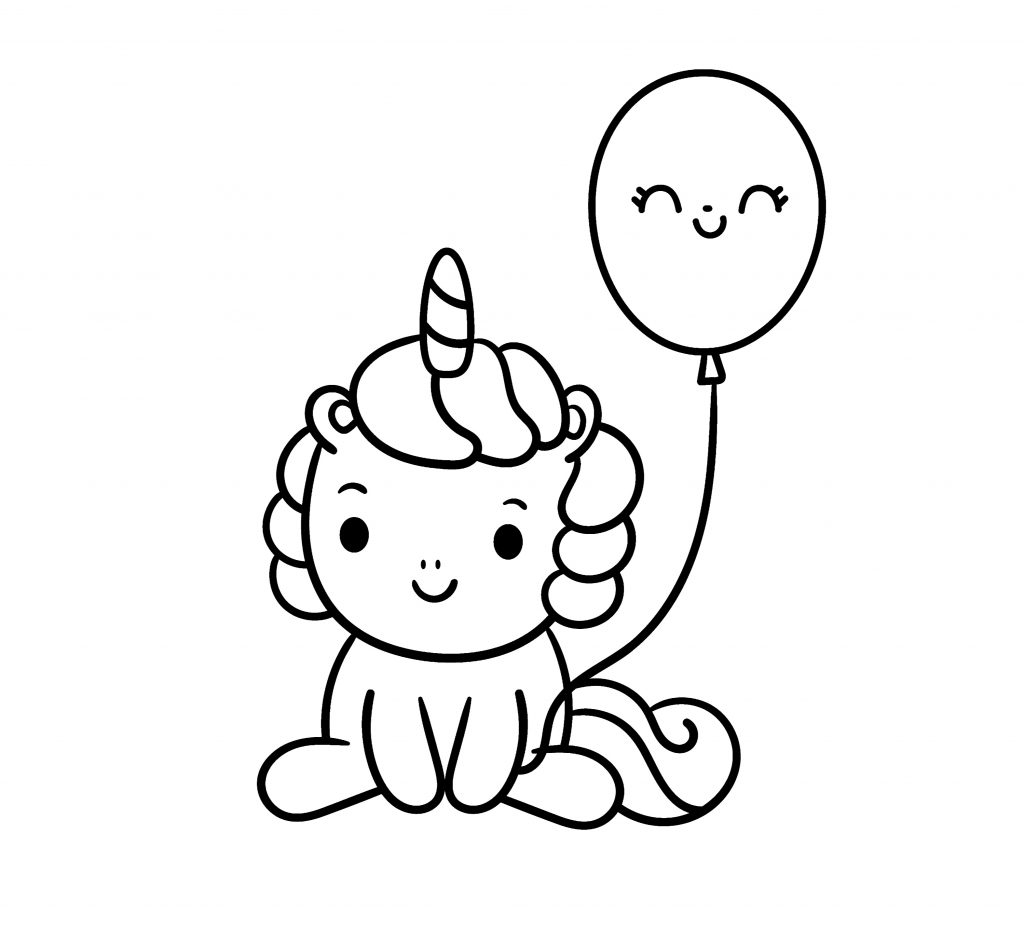 unicorn with a rainbow and balloon coloring page
