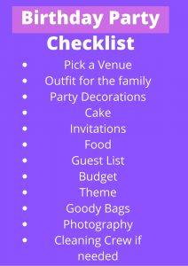 Birthday Party Checklist