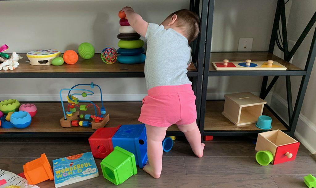 Montessori Toy shelf, Montessori toys, toddler, activities, 10 months