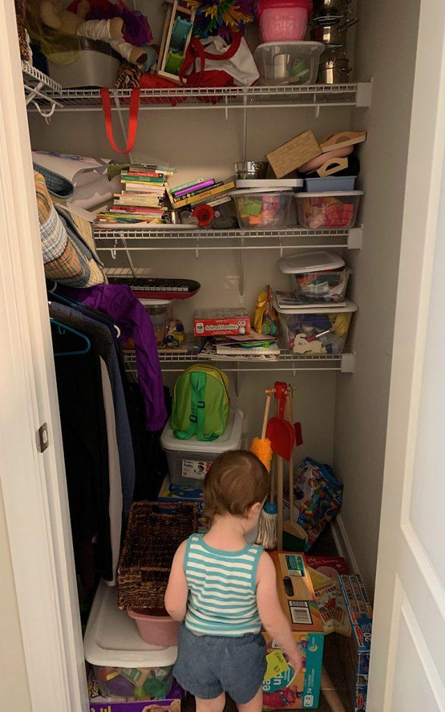 Montessori toys, storage closet, toddler, activities, 22 months, decluttering