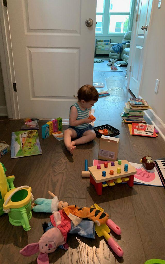 Montessori toys, storage closet, toddler, activities, 22 months, decluttering, organization
