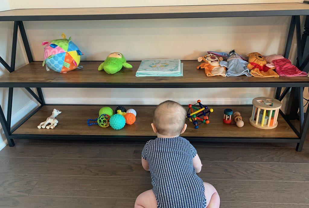 Montessori Toy shelf, Montessori toys, toddler, activities, 7 months