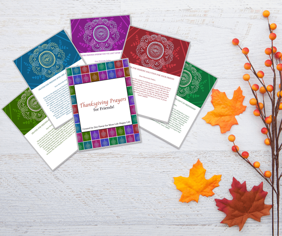 Colorful FREE printables for Thanksgiving Prayers
