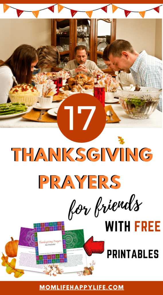 Family and Friends Praying Together at Thanksgiving Table