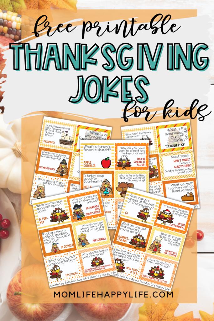 Free Thanksgiving Jokes for Kids Printable