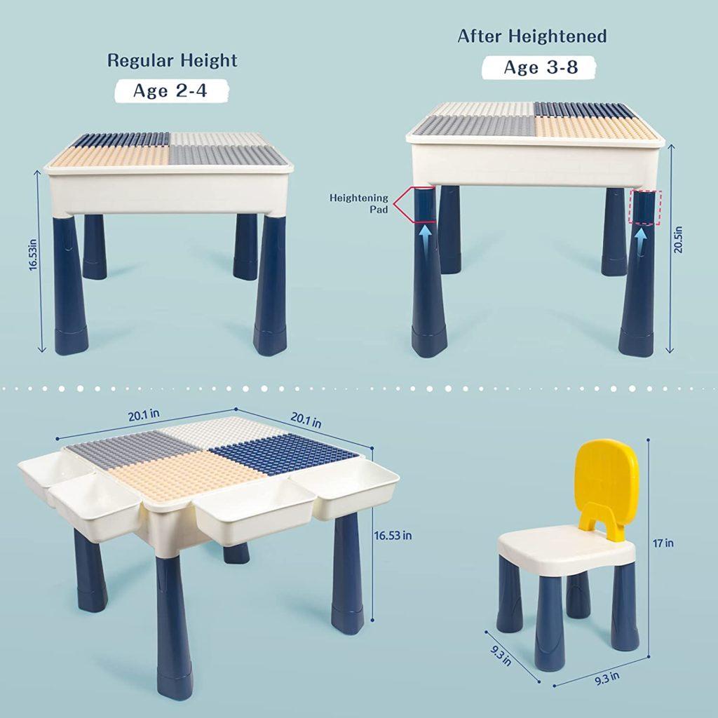 Adjustable lego table