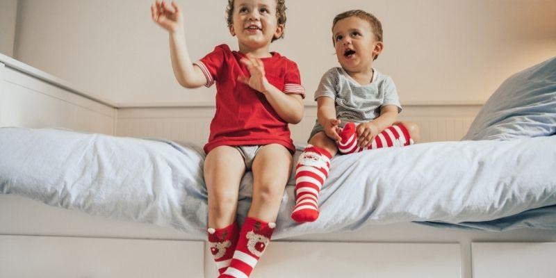 kids in Christmas socks